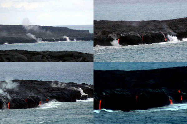 Lava flowing out of tubes in the rock into the sea