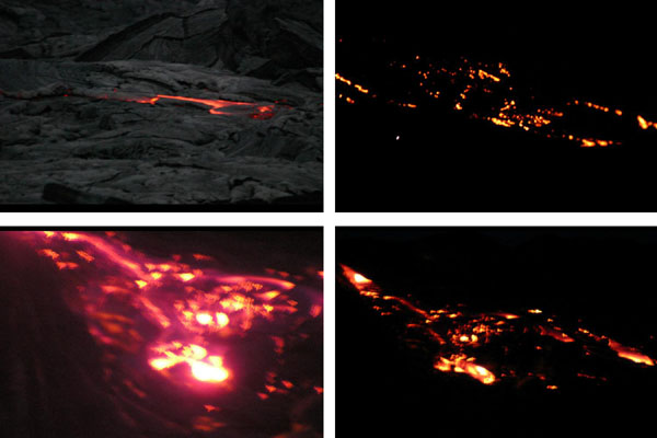 Glowing lava, approx. 30 feet (lower left) to approx. 100 feet across (others).