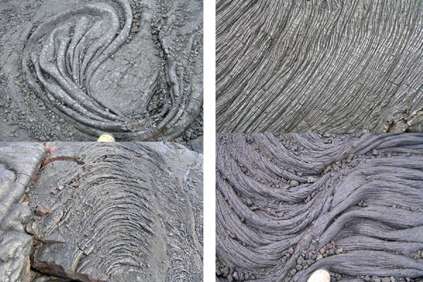 Hardened lava tongues (pahoehoe).  Four pictures showing different flow patterns.