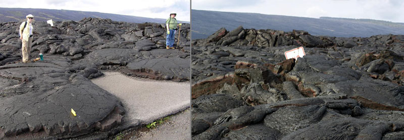 Karen (left) and Cindy Alley along the former Chain of Craters Road.  A 'no parking' sign is buried in the lava.