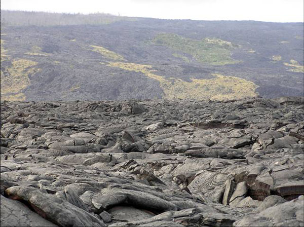 The trail to the active lava showing Pahoehoe.