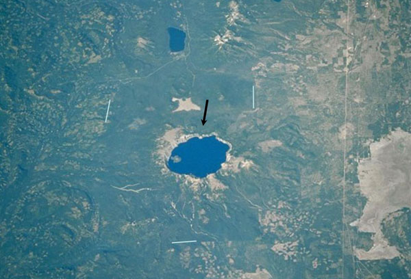 Arial view of Crater Lake