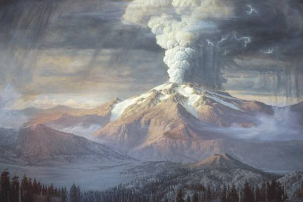 Paul Rockwood's reconstruction (painting) of the cataclysmic eruption at Crater Lake