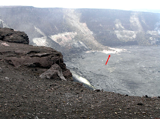 landslide falling into the crater