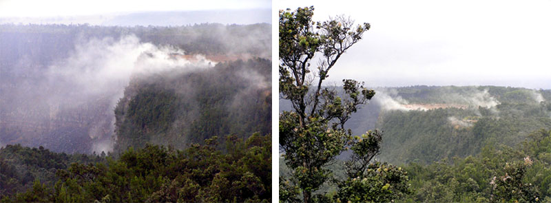 two images of kilauea's steaming bluff. There is stem coming from the bluff. See description below.