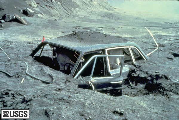 A car buried in lava approximately 10 miles from Mount St. Helens.