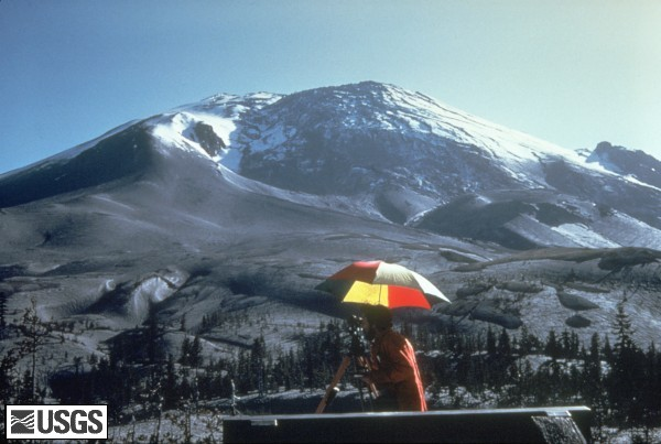Mt. St. Helens on April 27, 1980 shows a bulge developing on the N. side.