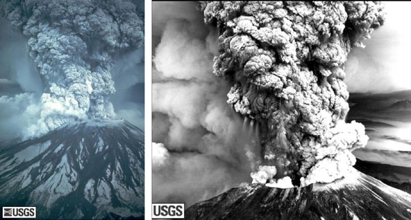 Mt. St. Helens erupting on May 18, 1980.