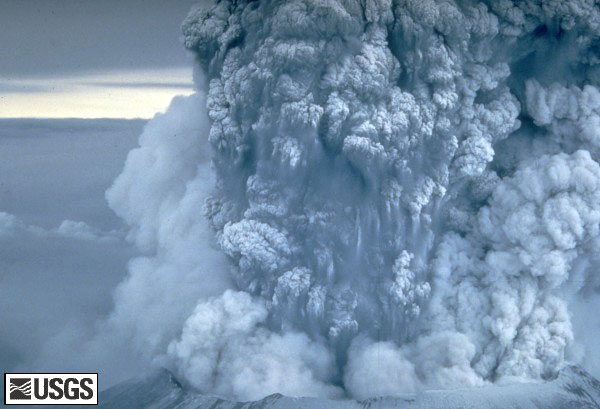 Plume of ash erupting from the mountain.