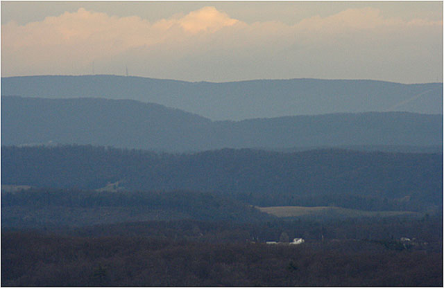 Appalachian mountains at dusk.