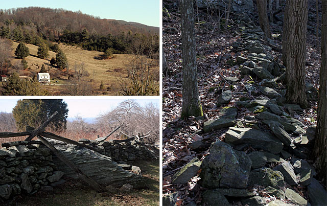 Three pictures.  1. a house on a hill.  2. an old fence.  3.  a rock wall.  These images show human settlement along the Blue Ridge Parkway.