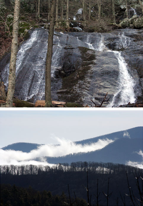 Two images.  1.  Waterfall.  2. The Blue Ridge Mountains with fog in the valleys.