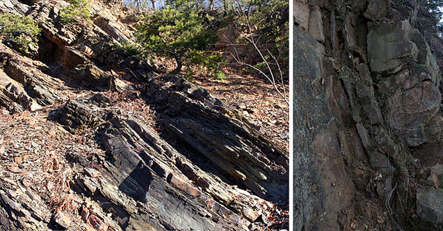 Close up of sedimentary rocks found in the Blue Ridge Mountains.