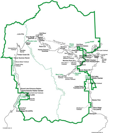 National Park Service Map of Rocky Mountain National Park, Colorado.