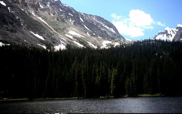 Ouzel Lake, one of several lakes that were carved by glaciers in the park