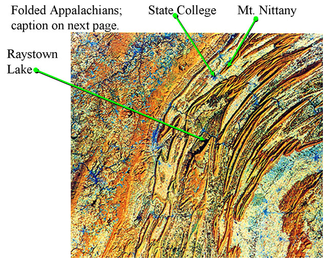 Map of the Folded Appalachians including State College, Mt. Nittany and Raystown Lake.  The caption is on the next page (see text alternative).