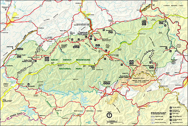 Park Service Map of Great Smoky Mountains National Park.