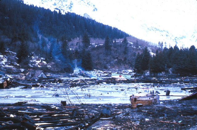 Seward, Alaska after the 1964 Alaska earthquake.  Houses are leveled and trees are toppled.