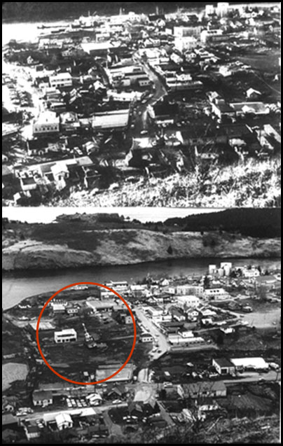 View of downtown Kodiak, Alaska before  and after the tsunami.  After image = many missing buildings and a boat found inland.