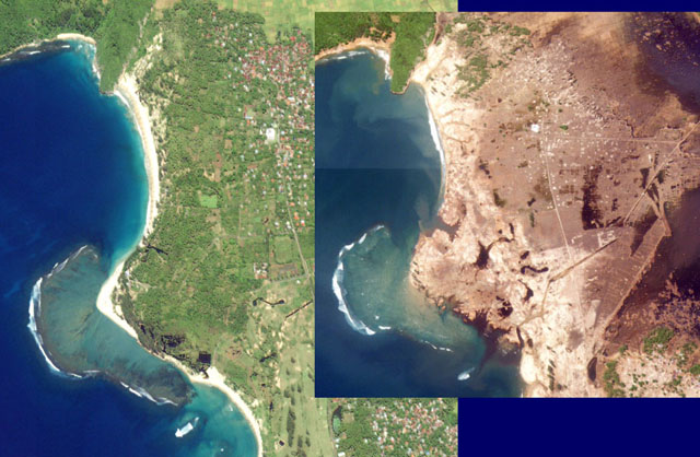 Before and after satellite images showing the coast at Lampuuk.  Before = green and has sand beaches.  After = brown and no sand beaches.