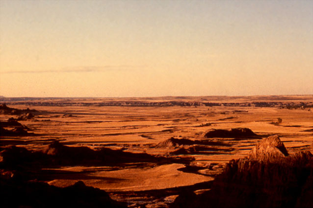 Badlands clay landscape.