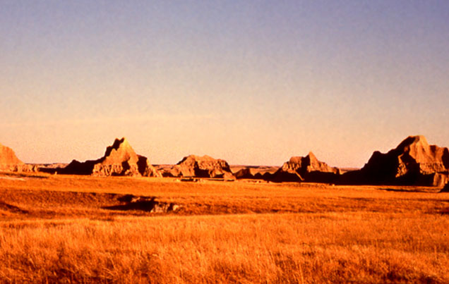 Large weathered rocks in Badlands
