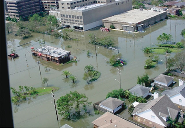 Arial view of Hurricane Katrina flooding in New Orleans. Muddy waters surround homes and businesses