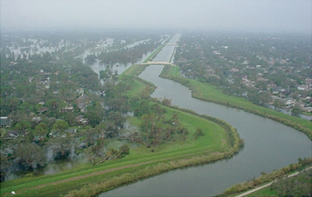 Arial view of Mississippi River in New Orleans and the levees that held up during Hurricane Katrina