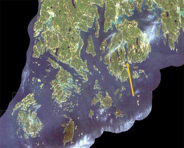 Satellite Image of Rhode Island Acadia and surroundings. Arrow points to the fjord of Somes Sound in Mount Desert Island
