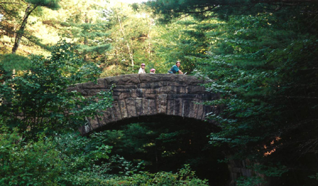 Family on bicycles crossing an arched stone bridge, surrounded by forest