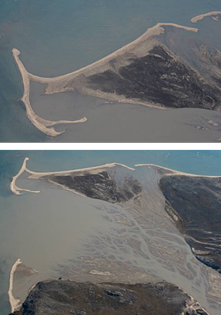 A delta formed by a braided river is surrounded by beaches and spits formed from the sand carried by the river.