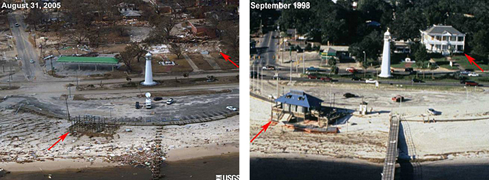 Hurricane Katrina aftermath. On right arrows point to antebellum and pier house. On left arrows point to where buildings used to be
