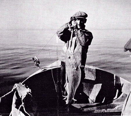 Man in fishing boat holding a cod in New England, 1942.
