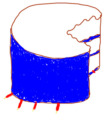 Sketch of a cake, as described in the text, bitten by a dog, flipped upside down, and with broken candles beneath it.