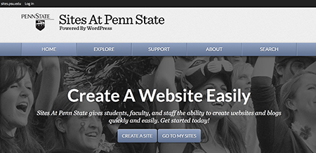 screenshot of sites at penn state