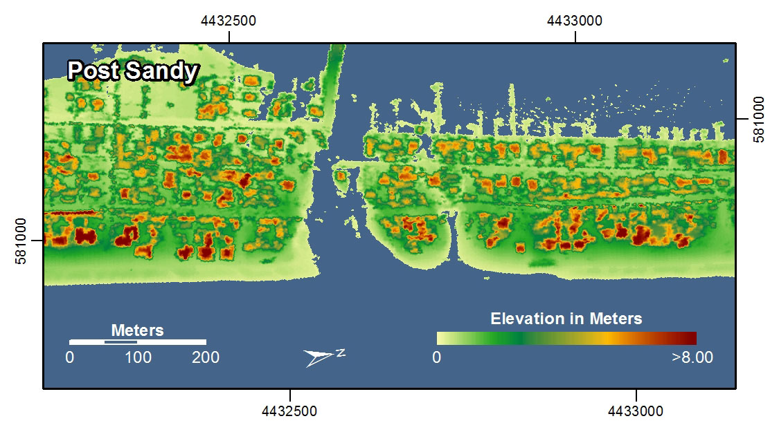 Coastline spatial mapping data after Sandy. There is a clear decrease in elevation.