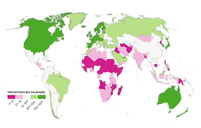 diverging color scheme used to show countries above and below global average internet users per 100