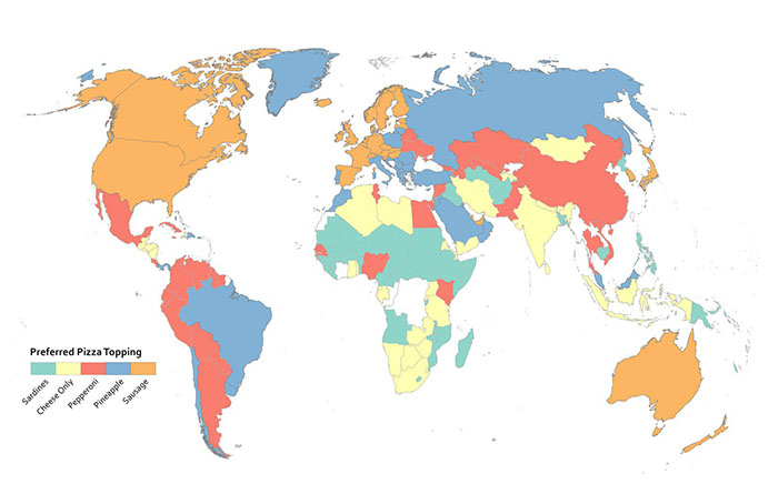 properly used categorical color scheme that show preferred pizza toppings of every country