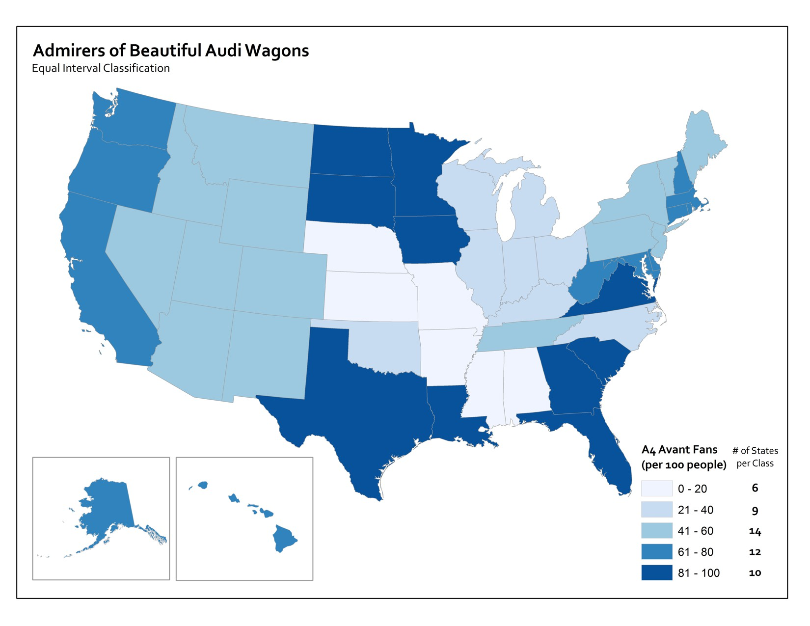 map using equal interval classification to show percent of armirers of Audi wagons per state