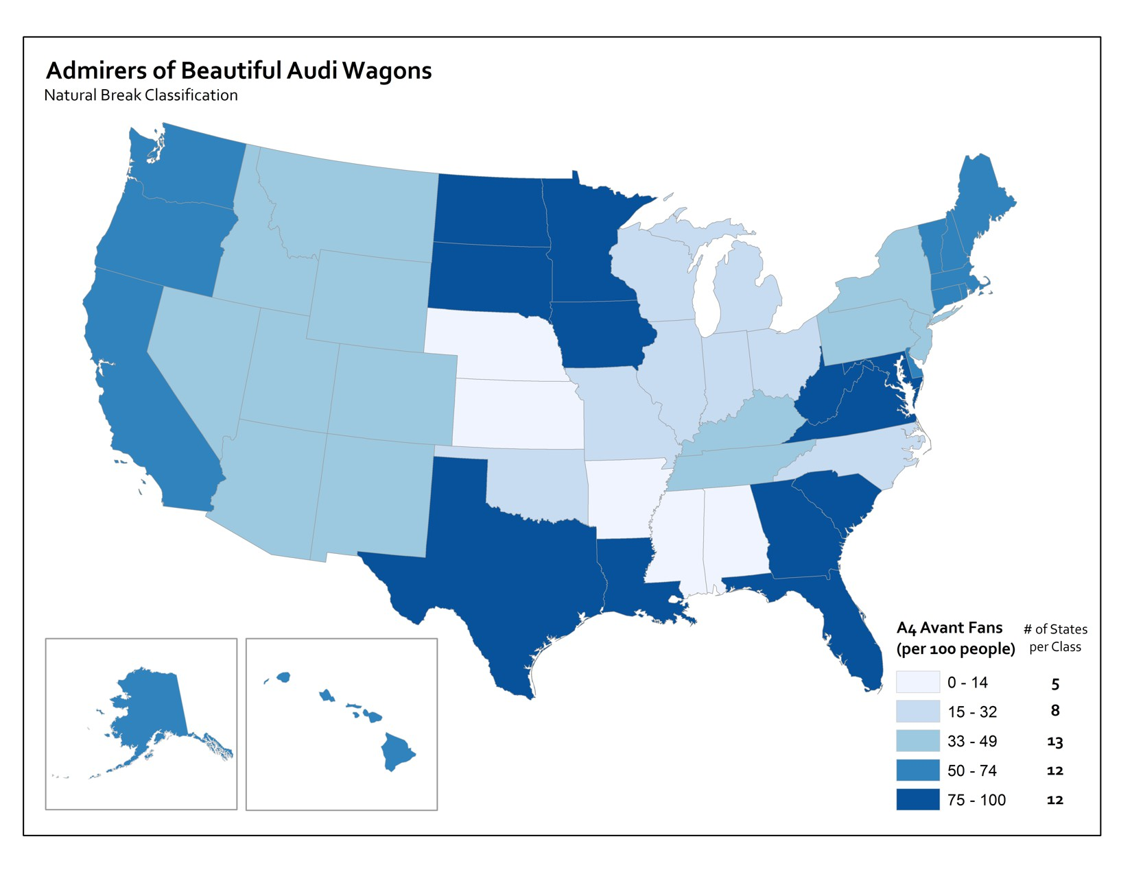 map using natural break classification to show percent of admirers of Audi wagons per state