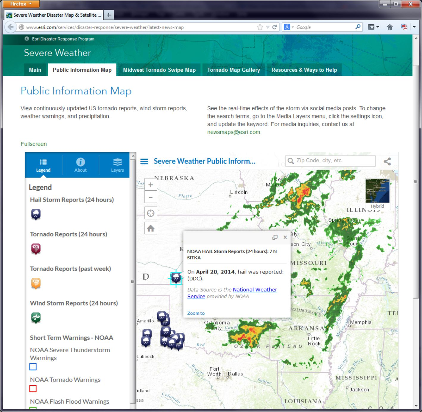 Esri severe weather map screenshot shows hail was reported on April 20, 2014