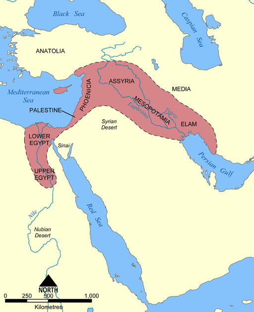 Fertile Crescent includes areas in lower and upper Egypt, Mesopotamia, Elam, and Assyria.