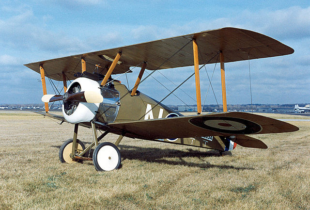 Reproduction of a Sopwith F.1 Camel biplane.