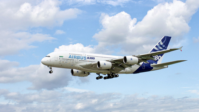 Airbus A380 in flight.
