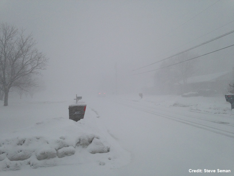 Photograph of reduced visibility during a snow squall