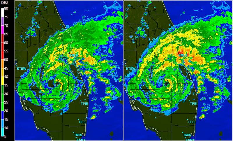 The base and composite reflectivities of Tropical Storm Fay.