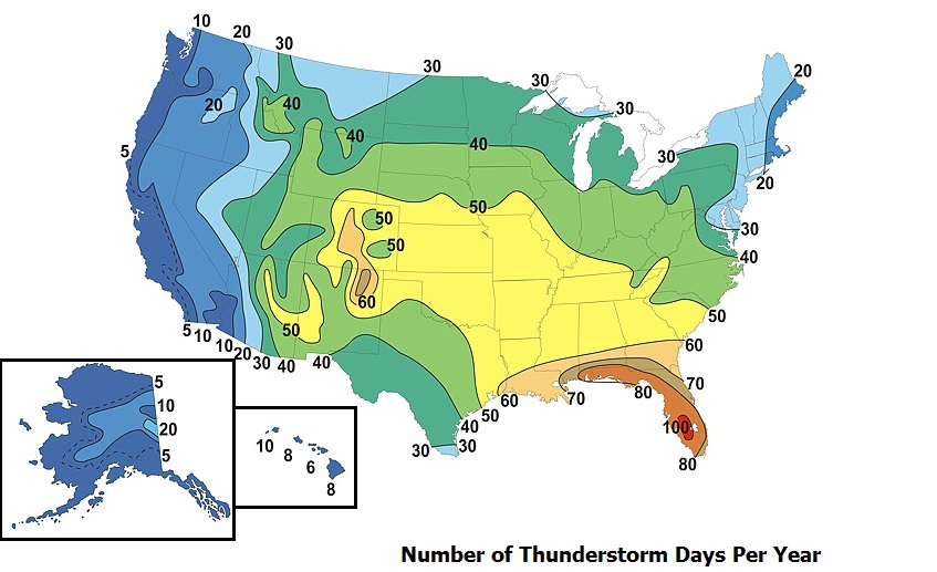 Map showing the average number of thunderstorm days per year in the United States.