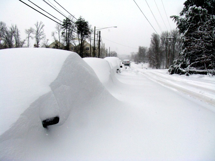 A photo of a snow-covered road with snow-covered cars parked alongside.