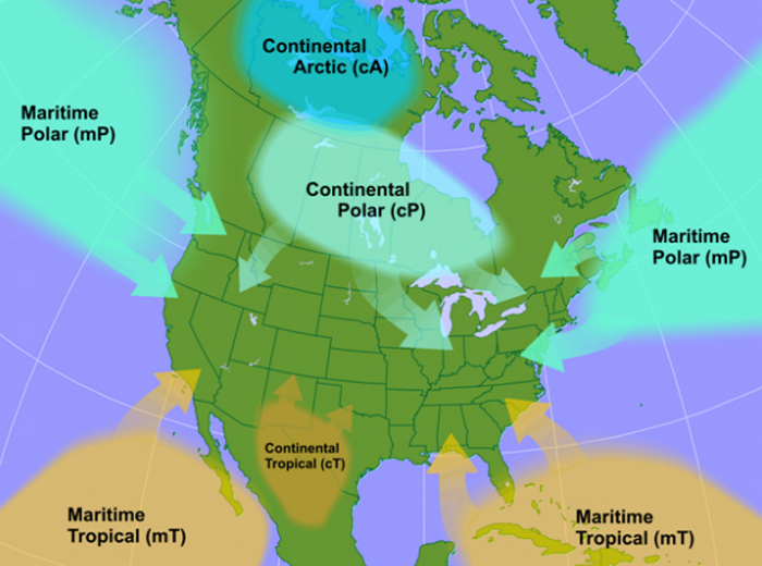 Image result for continental air mass