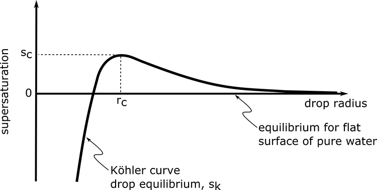 Koehler curve, which is the supersaturation of a particle as a function of the particle radius as described in the text below